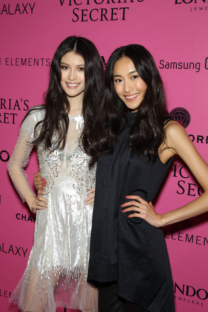 Models Sui He and Shu Pei Qin attend the after party for the 2012 Victoria's Secret Fashion Show at Lavo NYC on November 7, 2012 in New York City. (Photo by Michael Stewart/FilmMagic)