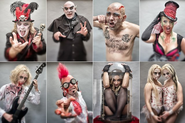 In this composite image (L-R top row) Dok Haze, Douglas Child as Camp Dracula, Mongolian Laughing Boy, Tony Walls, Asia Sawika as Anastasia, (L-R bottom row) zombie bass guitar player Ozzy Jackson, sword swallower Hannibal Hellmurto, pickled person, Zoe Olivia Ellis and The Sinister Sisters, Steph Bates (L) and Steph Randall (R) pose for a photograph prior to a rehearsal of the Circus of Horrors' latest show. (Photo by Matt Cardy/Getty Images)