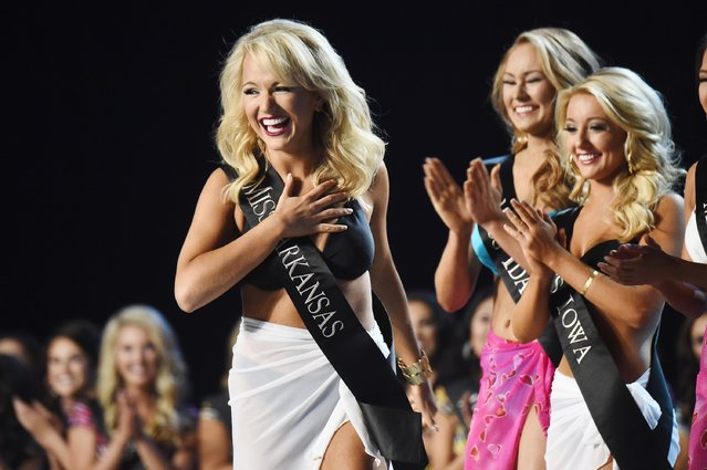 Miss Arkansas Savvy Shields appears onstage during the 2017 Miss America Competition - Show at Boardwalk Hall Arena on September 11, 2016 in Atlantic City, New Jersey. (Photo by Michael Loccisano/Getty Images for dcp)
