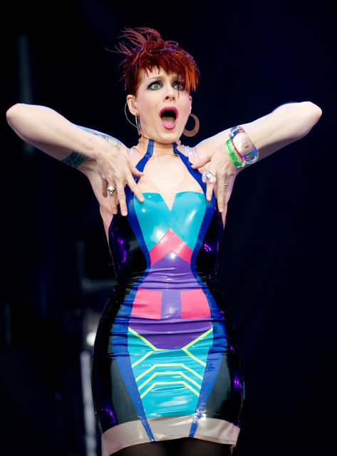 Ana Matronic of the Scissor Sisters performs on day 3 of Lovebox on July 17, 2011 in Victoria Park in London, England. (Photo by Samir Hussein)