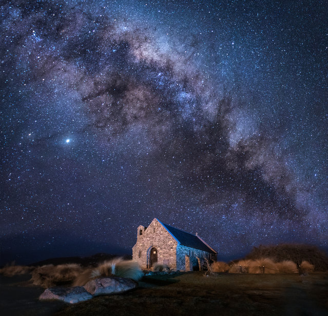 "Shortlisted: Church of the Good Shepherd, New Zealand. ""Church of the Good Shepherd under the stars. The sky of the southern hemisphere is incredibly beautiful. You should go to the other end of the planet to see it with your own eyes. It doesn't matter that the forecast promised a clear sky but outside the window it was icy rain and gale-force winds. For the sake of such a sky it is worth the wait. Patience is always rewarded. The clouds soon dispersed and opened the way to space"". (Photo by Elana Pakhalyuk/Historic Photographer of the Year 2020)"