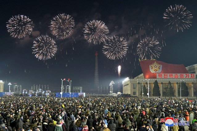 Fireworks explode over Pyongyang during New Year's day celebrations in this photo supplied by North Korea's Korean Central News Agency (KCNA) on January 1, 2021. (Photo by KCNA via Reuters)