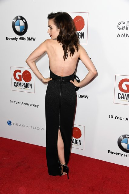 Actress Lily Collins arrives at the 10th Annual GO Campaign Gala at Manuela on November 5, 2016 in Los Angeles, California. (Photo by Frazer Harrison/Getty Images)