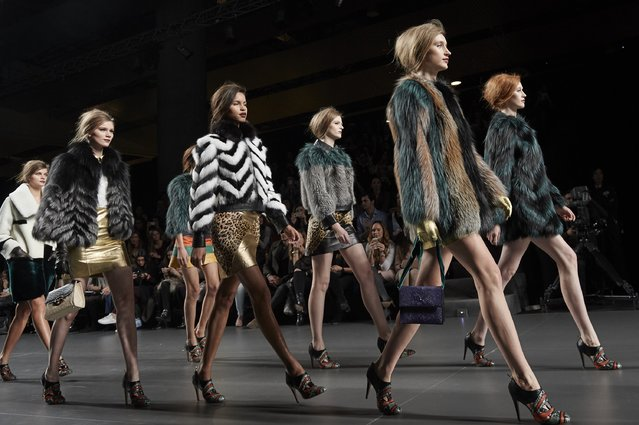 Models walk the runway at the Miguel Marinero show during Madrid Fashion Week Fall/Winter 2015/16 at Ifema on February 10, 2015 in Madrid, Spain. (Photo by Carlos Alvarez/Getty Images)