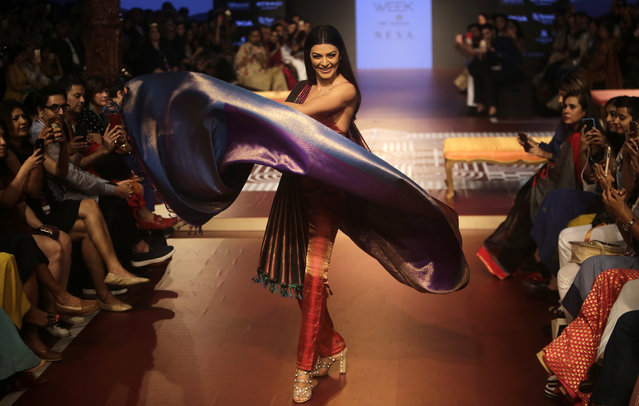 Bollywood actress Sushmita Sen walks the ramp to showcase the creation of designer Sunita Shanker during Lakme fashion week winter 2018 in Mumbai, India, Thursday, August 23, 2018. (Photo by Rajanish Kakade/AP Photo)