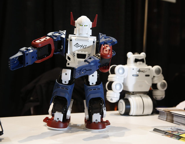 The XYZ Printing Bolide Y-01 Robot is on display at CES Unveiled, a media preview event for CES International, Monday, January 4, 2016, in Las Vegas. The robot is able to accept printable parts to change the look. (Photo by John Locher/AP Photo)