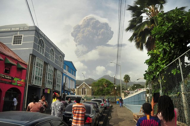 Ash and smoke billow as the La Soufriere volcano erupts in Kingstown on the eastern Caribbean island of St. Vincent, April 9, 2021. (Photo by Robertson S. Henry/Reuters)