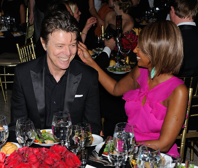 Musician David Bowie and supermodel Iman attend the DKMS' 5th Annual Gala: Linked Against Leukemia honoring Rihanna & Michael Clinton hosted by Katharina Harf at Cipriani Wall Street on April 28, 2011 in New York City. (Photo by Andrew H. Walker/Getty Images for DKMS)