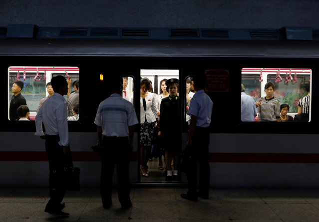 Commuters travel in a train at a subway station in Pyongyang, North Korea on September 11, 2018. (Photo by Danish Siddiqui/Reuters)