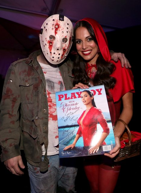Playmate of the Year Raquel Pomplun attends Playboy Mansion's annual Halloween bash on October 26, 2013 in Holmby Hills, California. (Photo by Christopher Polk/Getty Images for Playboy)
