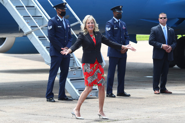 US first lady Jill Biden reacts to a question from a news reporter at Jackson-Medgar Wiley Evers International Airport, in Pearl, Mississippi, June 22, 2021. Biden is in the state to tour Covid-19 vaccination sites. (Photo by Tom Brenner/Pool via AFP Photo)