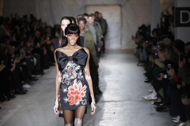 Model Winnie Harlow wears a creation as part of the John Richmond men's Fall-Winter 2019-20 collection, that was presented in Milan, Italy, Sunday, January 13, 2019. (Photo by Antonio Calanni/AP Photo)