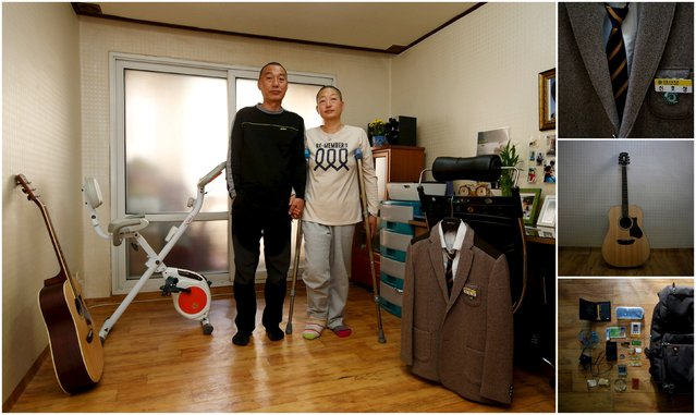 "A combination picture shows Jung Bu-ja (R) and Shin Chang-sik, parents of Shin Ho-sung, a high school student who died in the Sewol ferry disaster, as they pose for a photograph in their son's room, as well as details of objects, in Ansan April 9, 2015. Jung said: ""I was protesting, asking for an inquiry to find out the real reason why the ferry capsized. Some foreign tourists took photos of me. (Photo by Kim Hong-Ji/Reuters)"