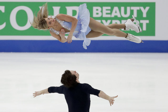 Kirsten Moore-Towers and Michael Marinara, of Canada, perform during the pairs short program at the Four Continents Figure Skating Championships on Friday, February 8, 2019, in Anaheim, Calif. (Photo by Chris Carlson/AP Photo)