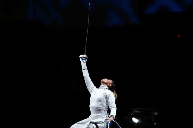 Amarilla Veres of Team Hungary celebrates after winning the Women's Épée Individual Category A Gold Medal against Jing Rong of Team China on day 2 of the Tokyo 2020 Paralympic Games at Makuhari Messe Hall B on August 26, 2021 in Chiba, Japan. (Photo by Athit Perawongmetha/Reuters)