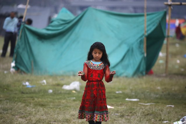 A girl stands outside her makeshift shelter on an open ground in the early hours, after Saturday's earthquake, in Kathmandu, Nepal April 28, 2015. (Photo by Adnan Abidi/Reuters)