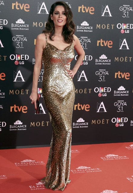 Mar Saura poses on the red carpet before the Spanish Film Academy's Goya Awards ceremony in Madrid, Spain, February 4, 2017. (Photo by Juan Medina/Reuters)