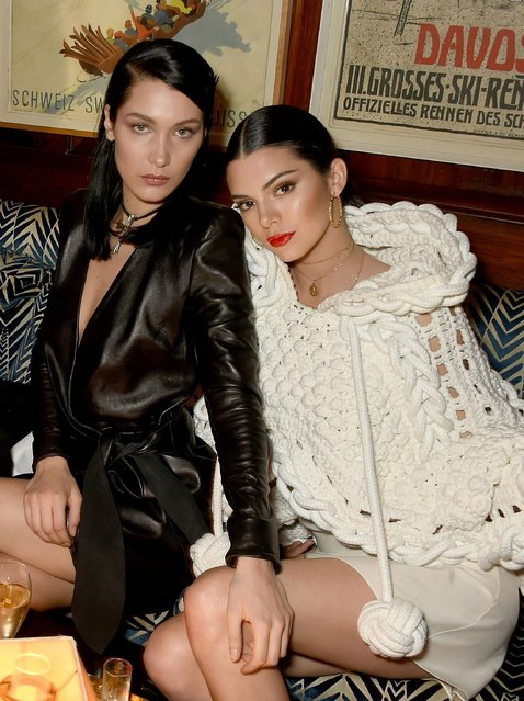 Kendall Jenner and Bella Hadid at the LOVE and Burberry party celebrating Katie Grand and Kendall Jenner's #LOVEME17 in London, UK on February 20, 2017. (Photo by Dave Benett/Getty Images vor LOVE Magazine)