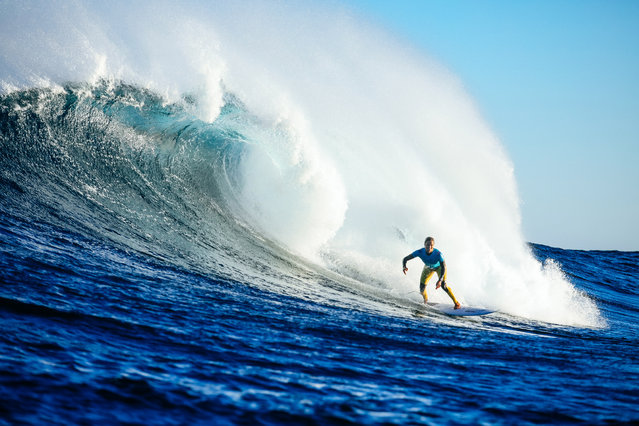 A handout photo made available by the World Surf League (WSL) of Sally Fitzgibbons of Australia in action during the semi final round of the 2019 Margaret River Pro surfing event as part of the 2019 World Surf League in Margaret River, western Australia, 04 June 2019. (Photo by Kelly Cestari/EPA/EFE)