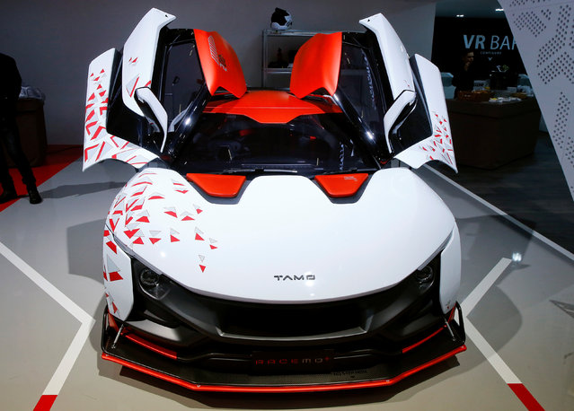 A TAMO Racemo+ car is seen during the 87th International Motor Show at Palexpo in Geneva, Switzerland March 8, 2017. (Photo by Arnd Wiegmann/Reuters)