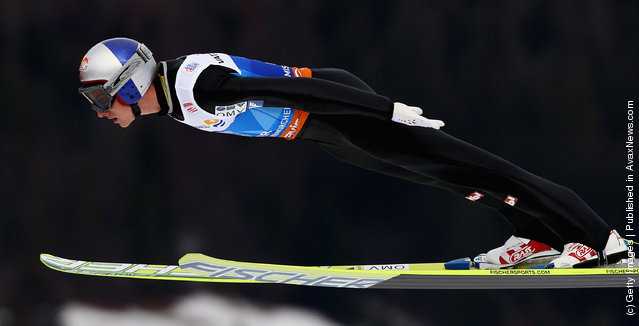 Gregor Schlierenzauer of Austria competes during the first round of the FIS Ski Jumping World Cup