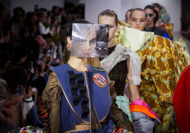 Models on the catwalk of Matty Bovan Spring/Summer 2020 London Fashion Week show at the BFC Spaceshow in London, England on September 13, 2019. (Photo by Shaun James Cox/9 PR)