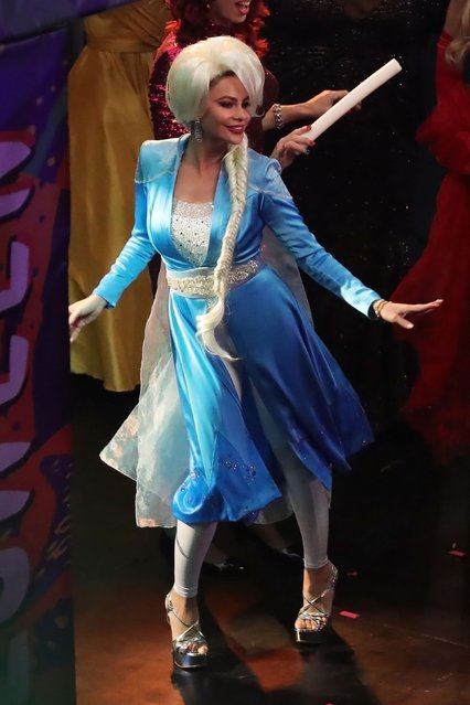 Sofia Vergara is spotted in an Elsa costume for a Halloween episode on the Modern Family set, filming in L.A. on September 18, 2019. Rico Rodriguez was also dressed as Sigmond Freud and Ed O'neill was out of costume. Sofia ended up on stage dancing with a group of drag queens. (Photo by Backgrid USA)