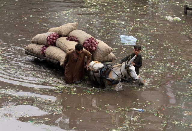 Pakistani laborers push a loaded donkey-cart through a flooded road caused by heavy rains in Lahore, Pakistan, Tuesday, July 21, 2015. A Pakistani local government spokesman says this week's flash floods triggered by monsoon rains in the country's north have killed at least two people and damaged several homes, roads and bridges. (Photo by K. M. Chaudary/AP Photo)