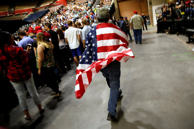 Supporters of Republican U.S. presidential candidate Donald Trump gather for a rally in Fresno, California, U.S., May 27, 2016. (Photo by Jonathan Ernst/Reuters)