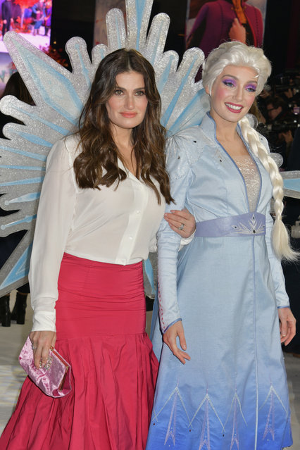 """Idina Menzel and Elsa attend the European Premiere of """"Frozen 2"""" at the BFI Southbank on November 17, 2019 in London, England. (Photo by David M. Benett/Dave Benett/WireImage)"""