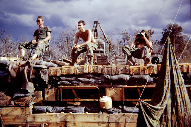 A photo of soldiers in Vietnam from slides contributed by D. Thornton. (Photo by D. Thornton/The Vietnam Slide Project)