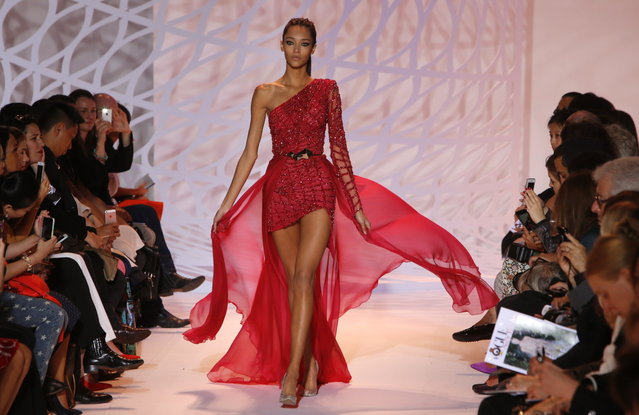 A model presents a creation for Zuhair Murad's fall-winter 2014-2015 Haute Couture fashion colllection in Paris, France, Thursday, July 10, 2014. (Photo by Francois Mori/AP Photo)