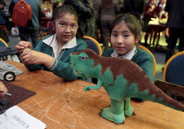 Students from Vida Nueva School present their dinosaur robot built with recycled materials during the annual robotics fair supported by the Bolivian Education Ministry in La Paz, August 10, 2015. (Photo by David Mercado/Reuters)