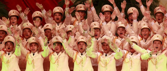 People perform during celebrations to commemorate the 70th anniversary of the establishment of the Vietnam Public Security police force at the National Convention Center in Hanoi August 18, 2015. (Photo by Reuters/Kham)