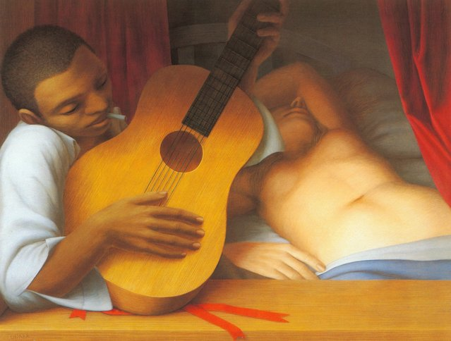 Guitar. Artwork by George Tooker