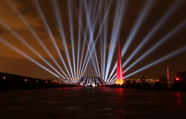 A view shows the illuminated Tsitsernakaberd memorial during an event commemorating victims of the 1915 mass killing of Armenians by Ottoman Turks in Yerevan, Armenia on April 24, 2020. (Photo by Vahram Baghdasaryan/Photolure via Reuters)