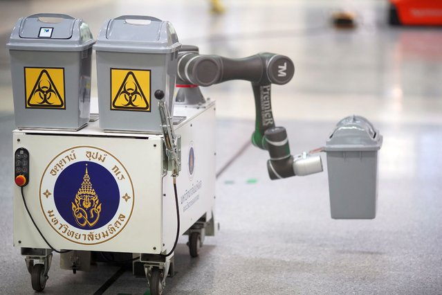 Wastie, a robot implemented by the Mahidol University Engineering Department and will be used to collect infected litter inside the COVID-19 ward of Golden Jubilee Medical Center, is seen during a demonstration at the hospital, amid the spread of the coronavirus disease (COVID-19) in Nakhon Pathom province,Thailand on May 14,2020. (Photo by Athit Perawongmetha/Reuters)