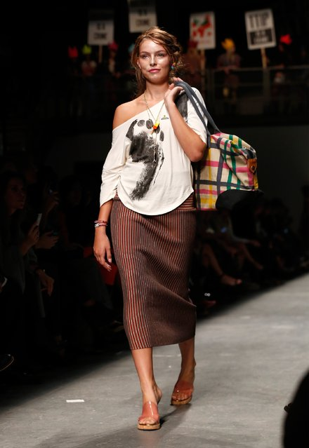 A model walks the runway at the Vivienne Westwood Red Label show during London Fashion Week Spring/Summer 2016 on September 20, 2015 in London, England. (Photo by Tristan Fewings/Getty Images)