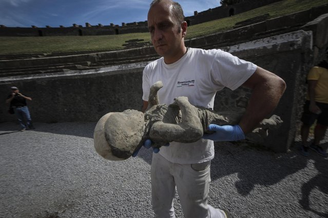 A member of a working team appointed by the Archaeological Superintendence of Pompeii carries one out of 30 cast of victims of the eruption of Vesuvius in 79 AD in Pompeii, to perform a Cat scan (Computerized axial tomography) in Napoli, Italy, 29 September 2015. (Photo by Cesare Abbate/EPA)