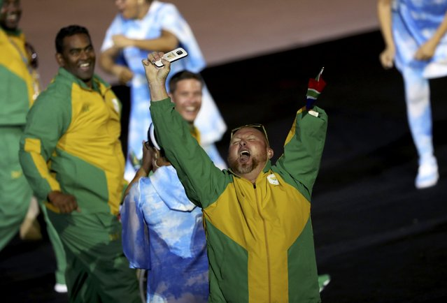 2016 Rio Paralympics, Opening ceremony, Maracana, Rio de Janeiro, Brazil on September 7, 2016. South African athletes cheer as they take part in the opening ceremony. (Photo by Ueslei Marcelino/Reuters)