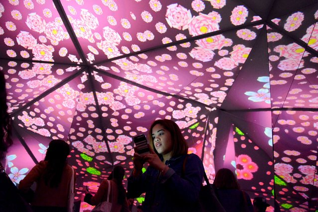 """People interact with the """"exhilarated"""" room at the Museum of Feelings, a pop-up installation in New York, December 15, 2015. (Photo by Stephanie Keith/Reuters)"""