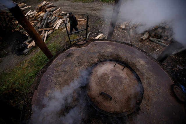 Charcoal burner Zygmunt Furdygiel checks on a charcoal furnace at a charcoal making site in the forest of Bieszczady Mountains, near the village of Baligrod, Poland October 27, 2016. (Photo by Kacper Pempel/Reuters)