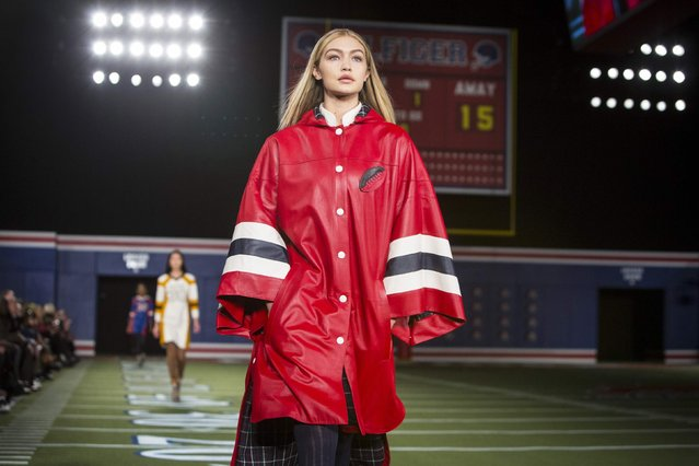 A model presents a creation from the Tommy Hilfiger Fall/Winter 2015 Collection at the New York Fashion Week February 16, 2015. (Photo by Andrew Kelly/Reuters)