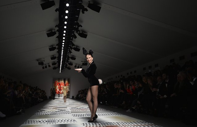 British singer Pixie Lott presents a creation during the Fashion for Relief charity catwalk show ahead of London Fashion Week in London February 19, 2015. (Photo by Toby Melville/Reuters)