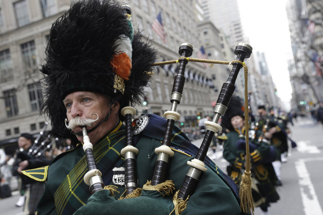 Bagpipers march up Fifth Ave. during the St. Patrick's Day Parade, Tuesday, March 17, 2015, in New York. (Photo by Mary Altaffer/AP Photo)