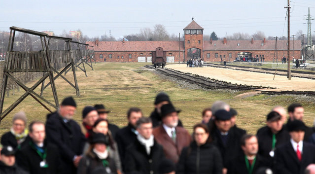 A view on a ramp at the former Nazi-German concentration and extermination camp KL Auschwitz II-Birkenau during the ceremonies marking the 71st anniversary of the liberation of the former Nazi-German concentration and extermination camp KL Auschwitz-Birkenau, in Oswiecim, Poland, 27 January 2016. The biggest German Nazi death camp KL Auschwitz-Birkenau was liberated by the Soviet Red Army on 27 January 1945. Today the world commemorates its liberation by International Holocaust Remembrance Day. (Photo by Andrzej Grygiel/EPA)