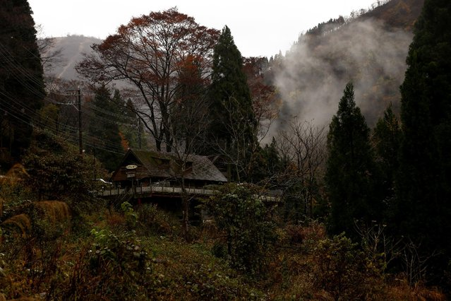 Morning mist rises behind a hunting lodge in a forest outside Hakusan, Ishikawa Prefecture, Japan, November 19, 2016. A small but growing number of Japanese women enter the male-dominated world of hunting, where it was once taboo for men to even speak to a woman before going on a hunt. As the hunting fraternity shrinks due to age and rural depopulation, women are recruited to help protect farms against rising numbers of wild deer and boar viewed as pests by farmers. Japanese farmers have lost up to 23 billion yen ($170 million) annually since 2008 because of rising numbers of deer, boar, monkeys and birds, the Ministry of Agriculture said. Hunting groups and local governments are trying to recruit women through social media, as well as offering hunting tours and classroom training. (Photo by Thomas Peter/Reuters)