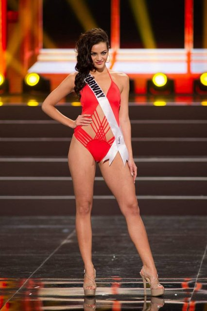 A handout picture provided by the Miss Universe Organization shows Mari Ekelof, Miss Norway 2013, competing in the swimsuit competition during the Preliminary Competition at the Crocus City Hall, in Moscow, Russia, 05 November 2013. (Photo by Darren Decker/EPA)