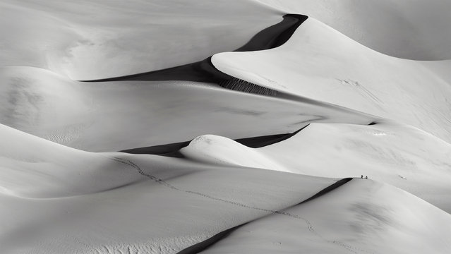 """Winner. """"Hikers at sunrise in the Great Sand Dunes national park, Colorado. To give an idea of scale, this photo was taken with a 500mm lens"""". MICK RYAN, JUDGE: """"Beautiful strong lines, the simplicity of monotone and figures to add scale. This elevated composition of the desert is this month's worthy winner"""". (Photo by Bill Boswell/The Guardian)"""