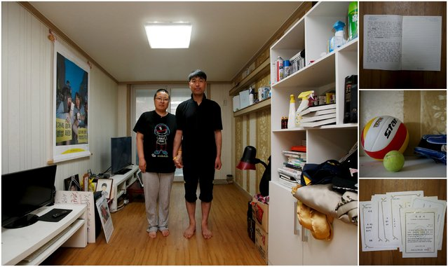 "A combination picture shows Kim Young-lae (R) and Kim Sung-sil, parents of Kim Dong-hyuk, a high school student who died in the Sewol ferry disaster, as they pose for a photograph in their son's room, as well as details of objects, in Ansan April 8, 2015. Kim Young-lae said: ""A thorough investigation is needed, and wrongdoers should be punished. This kind of accident might happen again, if we don't know why it happened"". (Photo by Kim Hong-Ji/Reuters)"